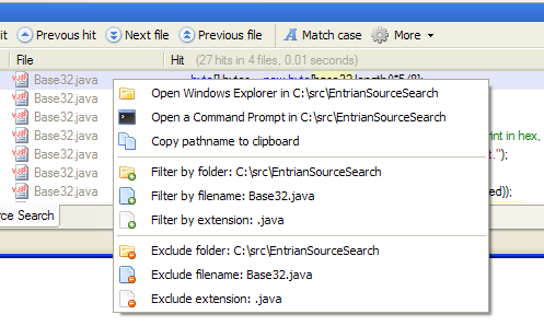The Entrian Source Search context menu