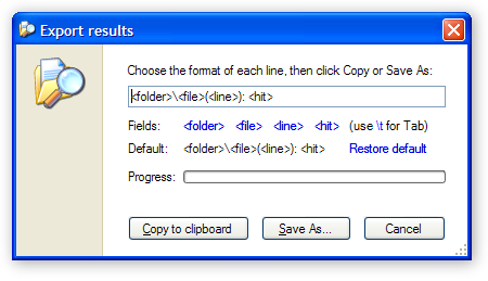 Export Results dialog